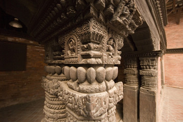 Carved sculpture in temple at Patan Durbar Square, Nepal 3.