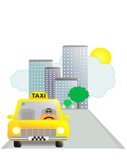 Taxi, city and driver