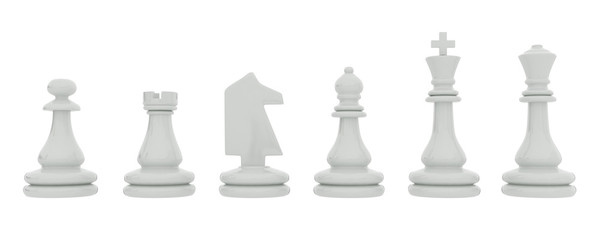 White chess pieces isolated on white background