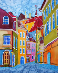 Tallinn. Original painting of European capital.