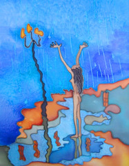 Girl in the rain. Original hand painted batik.