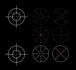 set of crosshairs direction finders - illustration