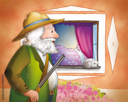 Il cacciatore arriva a casa della nonna di cappuccetto for Piani di casa della nonna