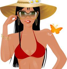 Girl red bikini