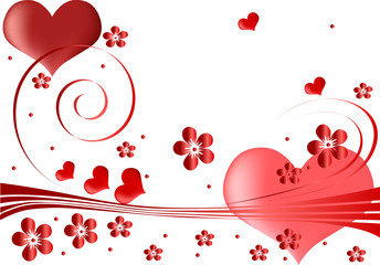 red hearts and flowers design