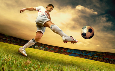 Poster Soccer ball Happiness football player on field of olimpic stadium on sunrise