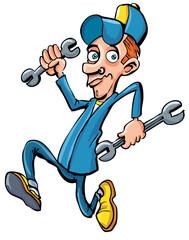 Cartoon mechanic running with his tools