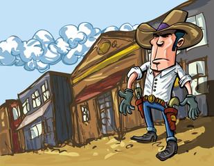 Aluminium Prints Wild West Cartoon cowboy casts a shadow