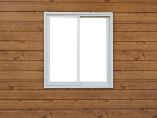White Window on wood background