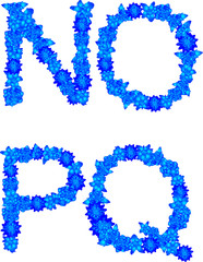 Alphabet of blue flowers and butterflies-N, O, P, Q.