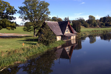 boat house on a river in kildare ireland