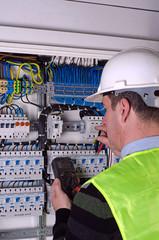Electrician during measurment