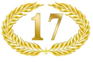 jubiläum 17 button lorbeer schleife geburtstag gold