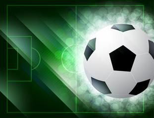 soccer ball on the green field with grass. vector illustration