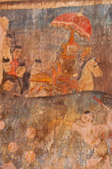 415 years anceint wall drawing in santuary,thai temple