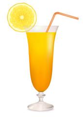 Orange cocktail in glass and lemon slice. Vector illustration.