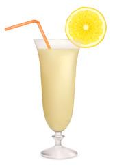 Milk cocktail with lemon. Vector illustration