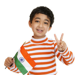 Smiling Toddler Holds a Flag of India and Flashes Victory Sign
