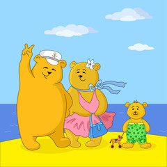 Poster Ours Teddy bears family on a beach