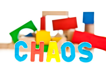 Chaos concept on white isolated background