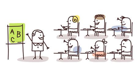 teacher & kids at school