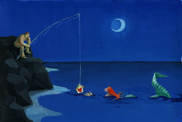 siren is seduced by night fisherman surreal illustration