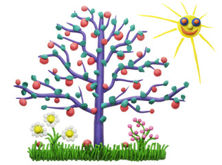The lonely isolated plasticine apple-tree