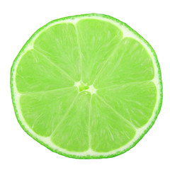 Lime slice isolated on white