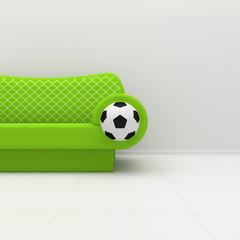 Green sofa with football symbolics