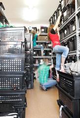 Warehouse clothes women  blur movement