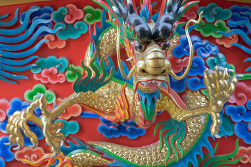 Chinese Dragon at the wall of China temple.