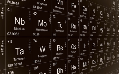 Black periodic table on wall