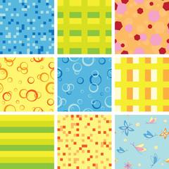 set of vector various geometric  seamless light textures