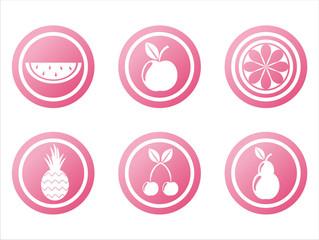 set of 6 pink fruits signs