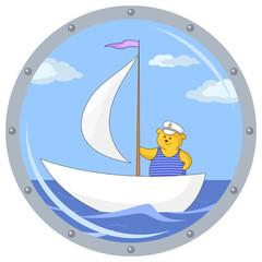 Teddy bear on ship