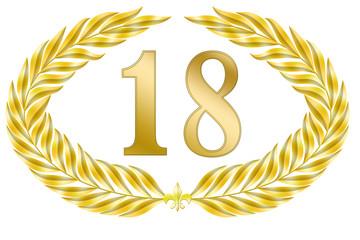 jubiläum 18 button lorbeer schleife geburtstag gold