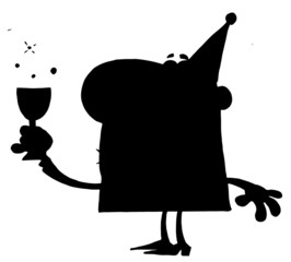 Solid Black Silhouette Of A Party Man With Liquor
