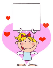 Blond Female Stick Cupid Holding A Blank Sign