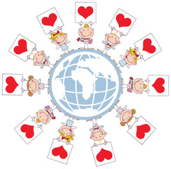 Stick Cupids Holding Heart Signs Around A Globe