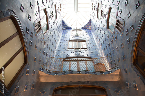 Claraboya Del Patio Interior Casa Batlló Barcelona Stock