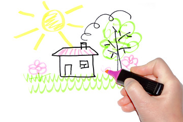 Hand drawing the house