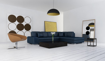 Interior of stylish, luxury, modern living room with blue sofa