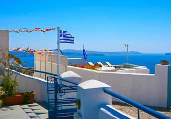 Beautiful terrace in Santorini, Oia