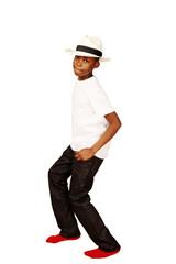 Cute african boy dancing