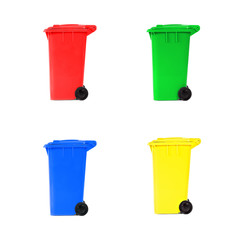 set of various empty recycling bins
