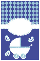 Blue vector illustration of a baby