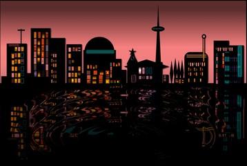 Städte Siluette Nachtleben