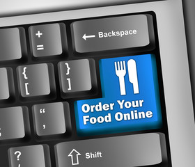 "Keyboard Illustration ""Order Your Food Online"""