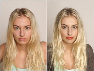 Vorher-Nachher-Bild einer jungen Frau
