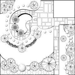 Garden plan black and white
